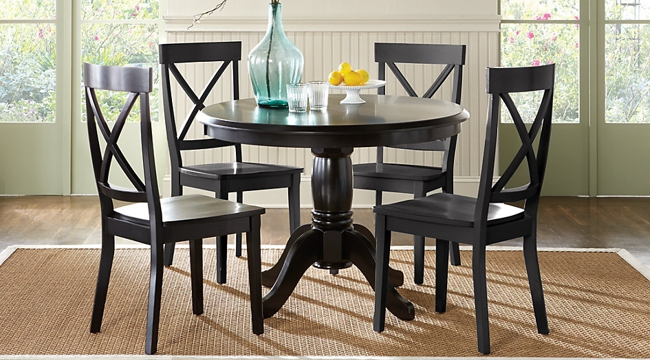 Recent Black Wooden Round Dining Table With Glass Teapot Tables In Caira Black Round Dining Tables (View 18 of 20)
