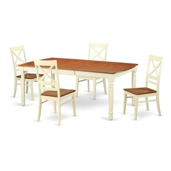 Recent Caden 6 Piece Rectangle Dining Sets Regarding Doqu5 Cream/cherry Rubberwood 5 Piece Dining Set – Free Shipping (View 16 of 20)