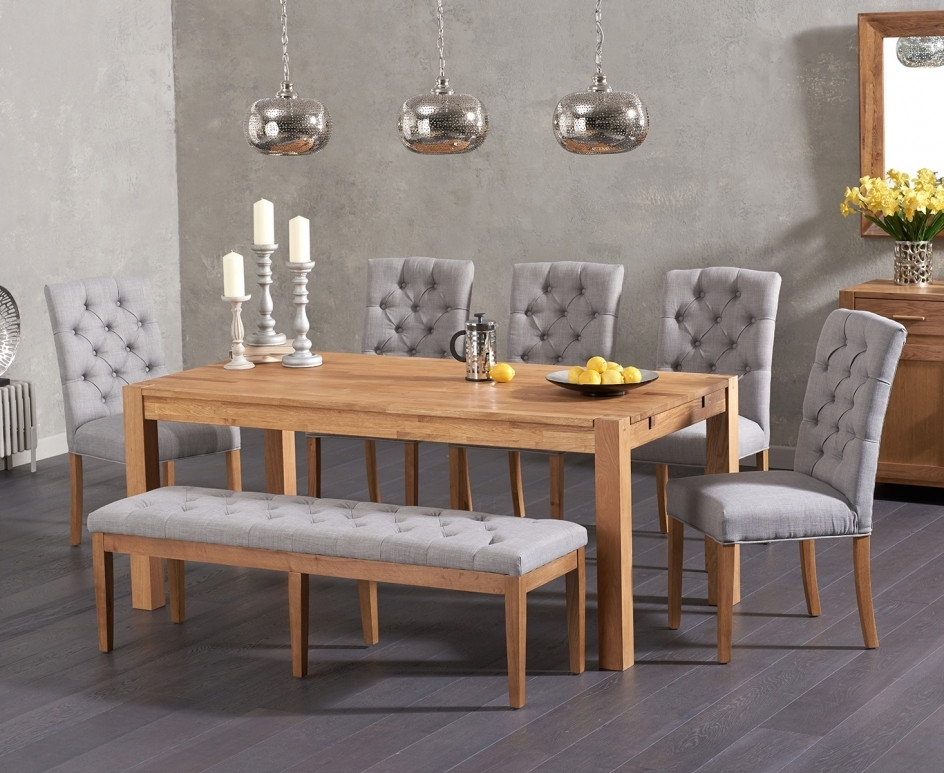 Recent Candice Ii Extension Rectangle Dining Tables With Verona 180Cm Solid Oak Dining Table With Candice Fabric Chairs And (View 12 of 20)