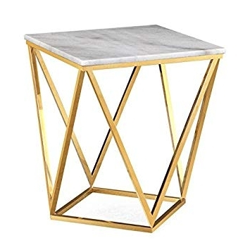 Recent Carly Triangle Tables Pertaining To Amazon: Leopold White Marble Side Table: Home & Kitchen (View 16 of 20)