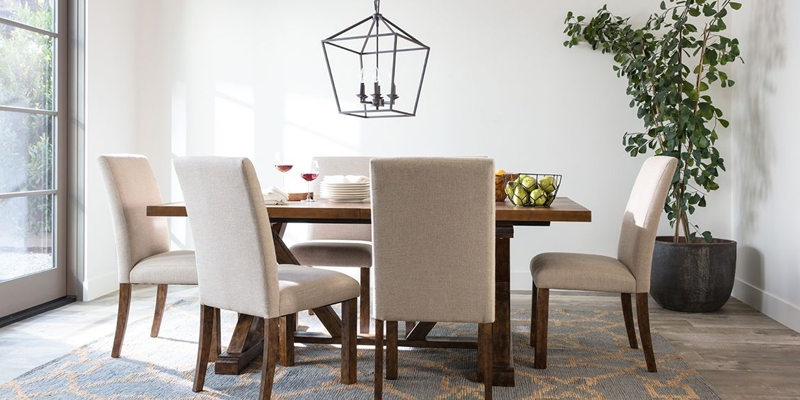 Recent Chandler 7 Piece Extension Dining Sets With Fabric Side Chairs Throughout Transitional Dining Room With Chandler Dining Set (View 12 of 20)