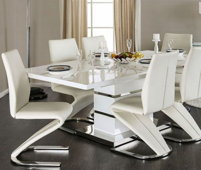 Recent Chrome Dining Tables And Chairs In Furniture Of America Midvale White And Chrome Extendable Rectangular (View 17 of 20)