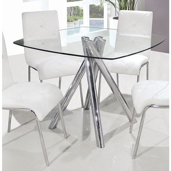 Recent Chrome Glass Dining Tables In Shop Best Master Furniture Square Glass Dining Table – Silver – Free (View 14 of 20)