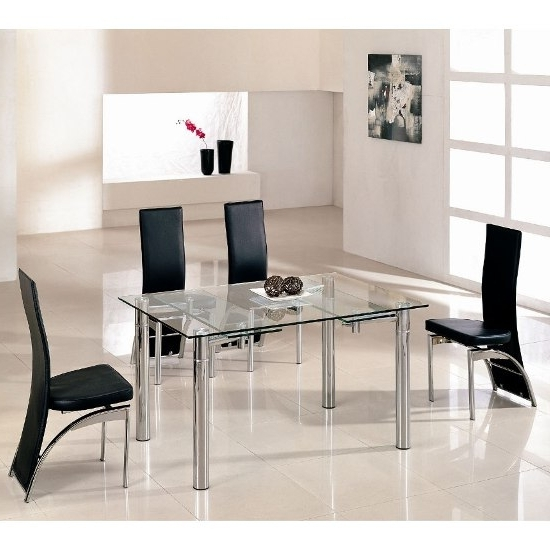Recent Chrome Glass Dining Tables Inside Alicia Extending Dining Table In Clear Glass With Chrome (View 15 of 20)