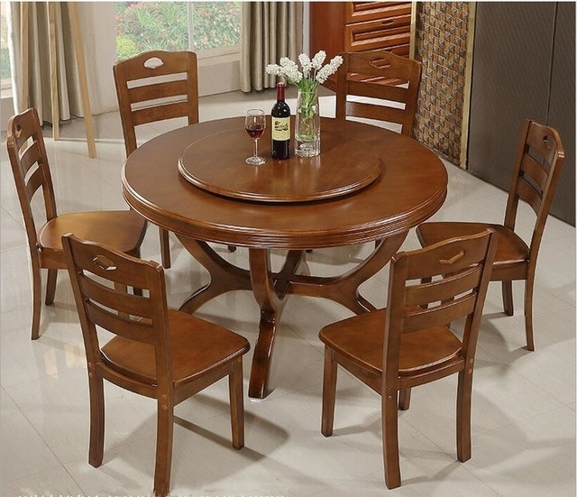 Recent Circular Dining Tables Pertaining To Household Solid Wood Dining Tables And Chairs Combination Of Modern (View 17 of 20)