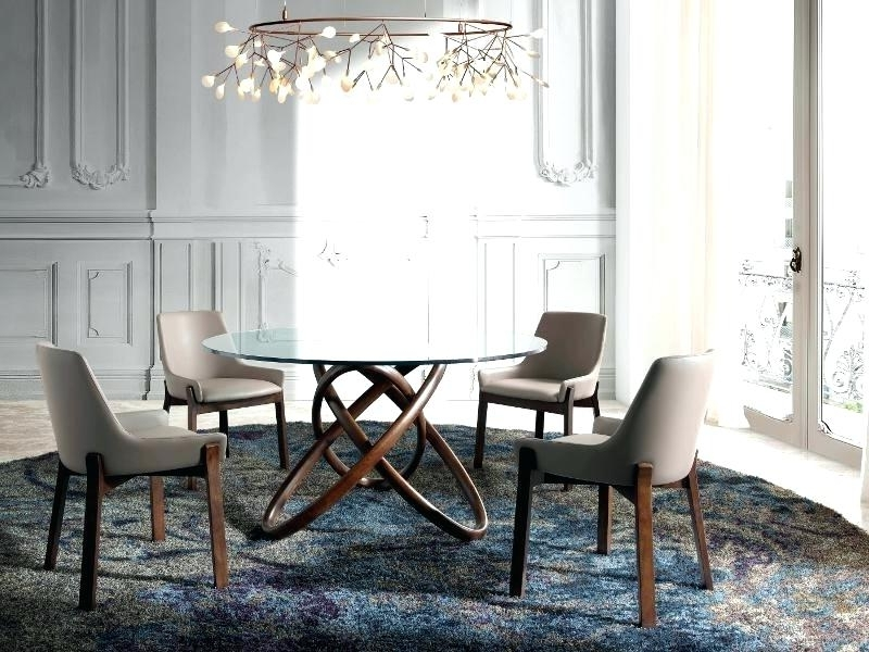 Recent Curved Glass Dining Tables Pertaining To Decoration: Modern Round Glass Dining Table With Curved Walnut Base (View 20 of 20)