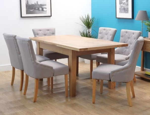 Recent Denver Oak Extending Single Leaf Dining Set With 6 Chairs For Light Oak Dining Tables And 6 Chairs (View 15 of 20)