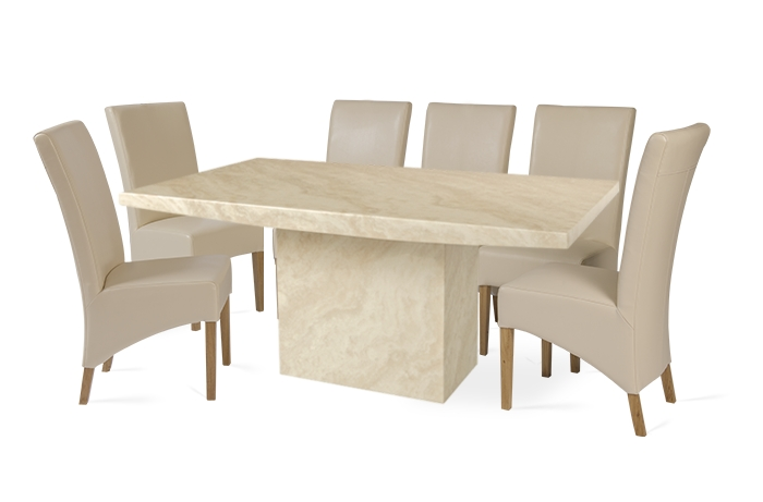 Recent Dining Table And 10 Chairs Throughout Crema 220Cm Marble Effect Dining Table With 10 Cannes Cream Chairs (View 14 of 20)