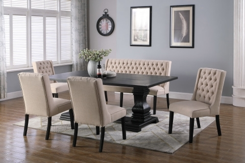 Recent Dining Tables, Chairs, Servers – Hello Furniture With Jaxon 7 Piece Rectangle Dining Sets With Wood Chairs (Gallery 16 of 20)
