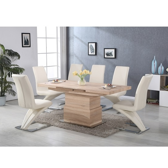 Recent Elgin Convertible And Extendable Dining Table With 6 Demi Intended For Cheap Extendable Dining Tables (View 19 of 20)