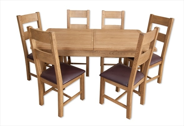 Recent Extending Dining Tables 6 Chairs In Hampton Country Rustic Oak 1.6 Extending Dining Table & 6 Chair Set (Gallery 7 of 20)