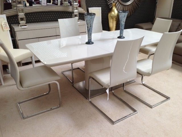 Recent Floris Extending Dining Table Cream (View 1 of 20)