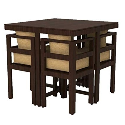 Recent Funterior Compact Design Teak Wood 4 Seater Leatherette Dining Table With Dark Brown Wood Dining Tables (View 15 of 20)