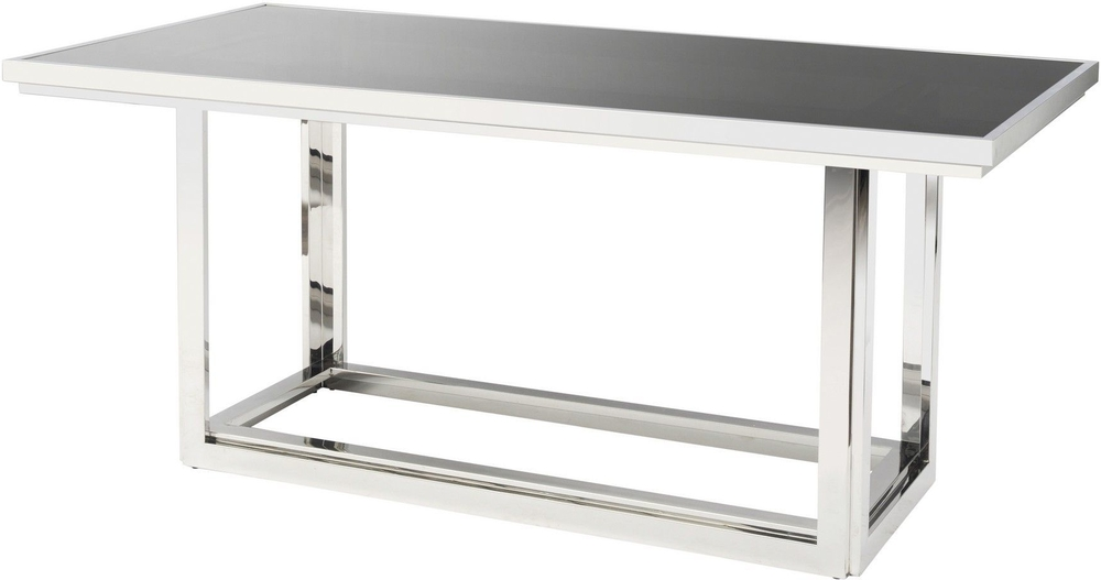 Recent Glass And Stainless Steel Dining Tables Within Gatsby Rectangular Dining Table Stainless Steel Frame Smoked Glass (View 18 of 20)