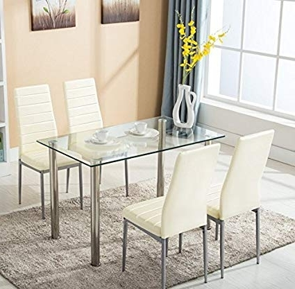 Recent Glass Dining Tables White Chairs Pertaining To Amazon – Mecor Glass Dining Table Set, 5 Piece Kitchen Table Set (View 13 of 20)
