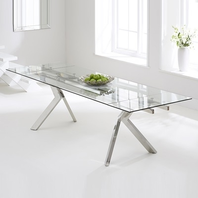 Recent Glass Folding Dining Tables With Regard To Palmero Glass Extending Dining Table – Robson Furniture (View 15 of 20)