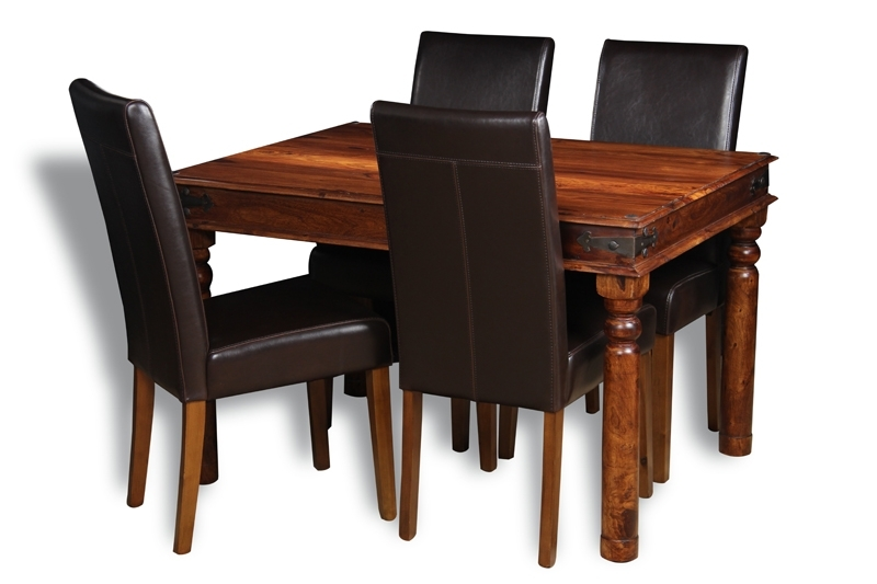 Recent Jali Sheesham 120Cm Dining Table And 4 Leather Chairs (3 Styles In Sheesham Dining Tables And 4 Chairs (Gallery 5 of 20)