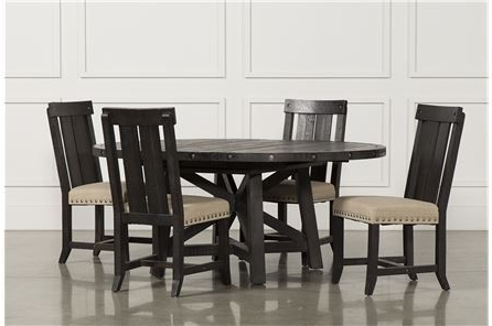Recent Jaxon 5 Piece Extension Round Dining Set W/wood Chairs, Café (Gallery 1 of 20)