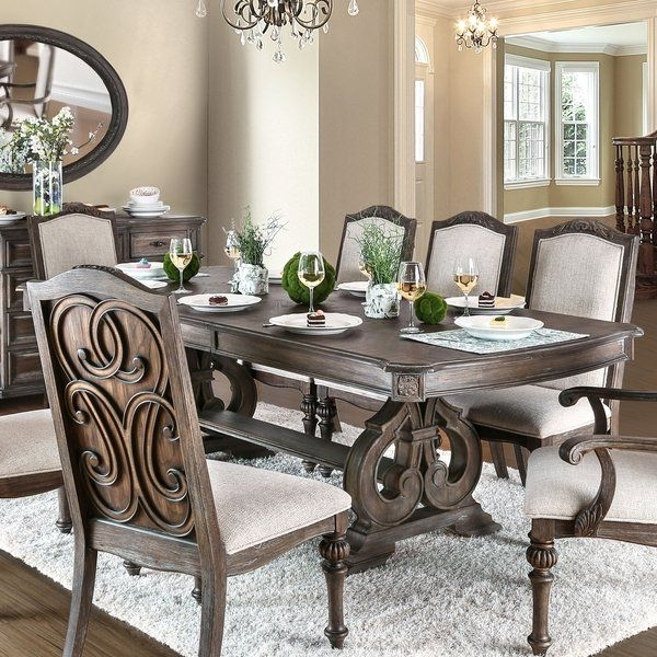 Recent Kirsten 6 Piece Dining Sets Throughout Shop Furniture Of America Dianne Scrolled Double Pedestal Rustic (View 18 of 20)