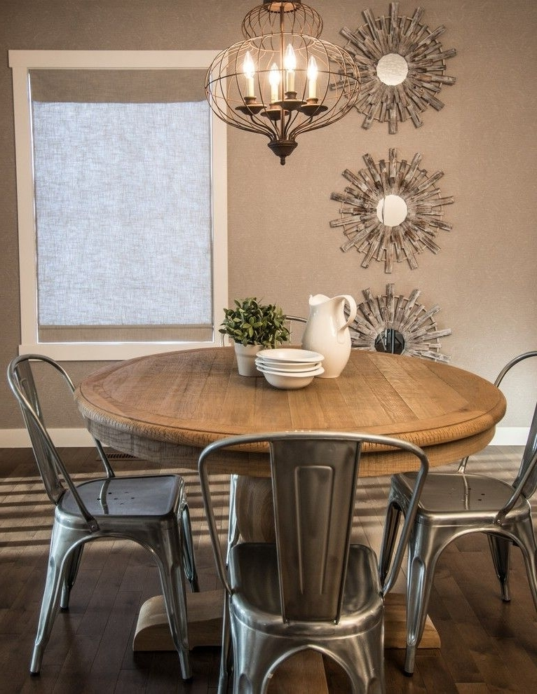 Recent Laurent 5 Piece Round Dining Sets With Wood Chairs Inside Rustic Round Dining Table Dining Room Rustic With Driftwood French (View 15 of 20)