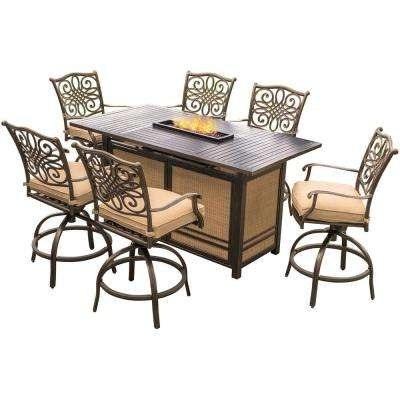 Recent Laurent 7 Piece Rectangle Dining Sets With Wood Chairs Pertaining To Bar Height – Outdoor Bar Furniture – Patio Furniture – The Home Depot (View 16 of 20)