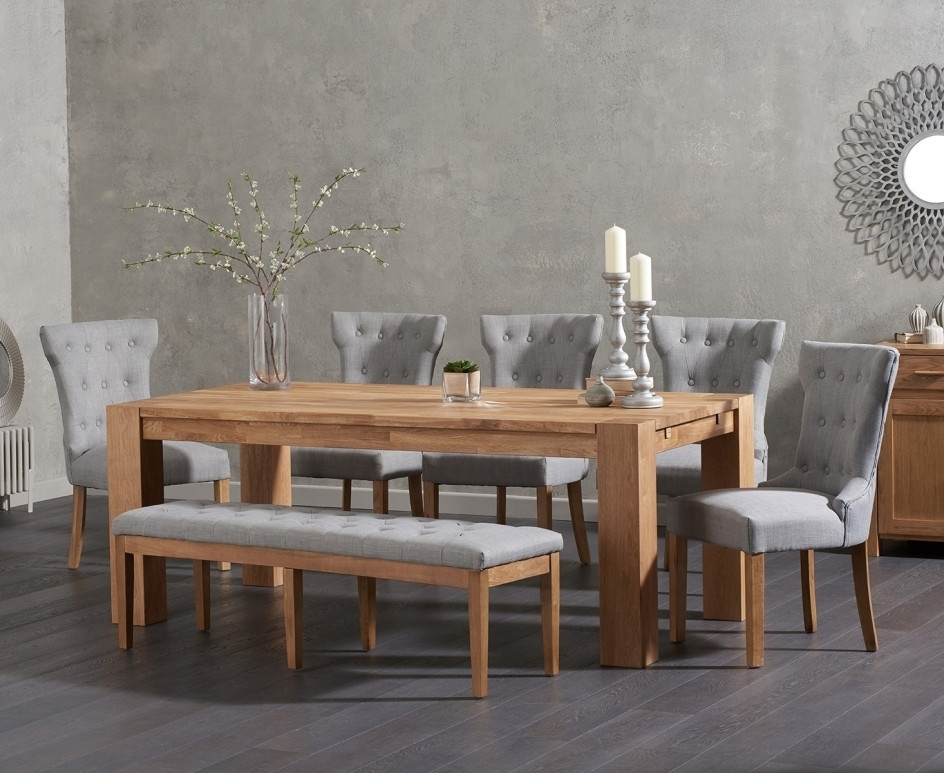 Recent Madrid 200Cm Solid Oak Dining Table With Cora Fabric Chairs And Cora For Cora Dining Tables (View 15 of 20)