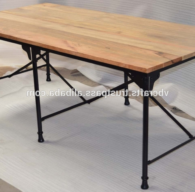 Recent Mango Wood/iron Dining Tables Intended For Industrial Metal Dining Table Folding Mango Wood Top – Buy (View 13 of 20)