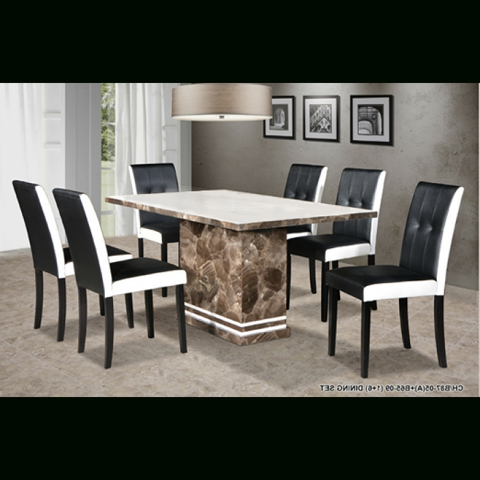 Recent Marble Dining Chairs Pertaining To Copa 1+6 Marble Dining Set (Gallery 20 of 20)