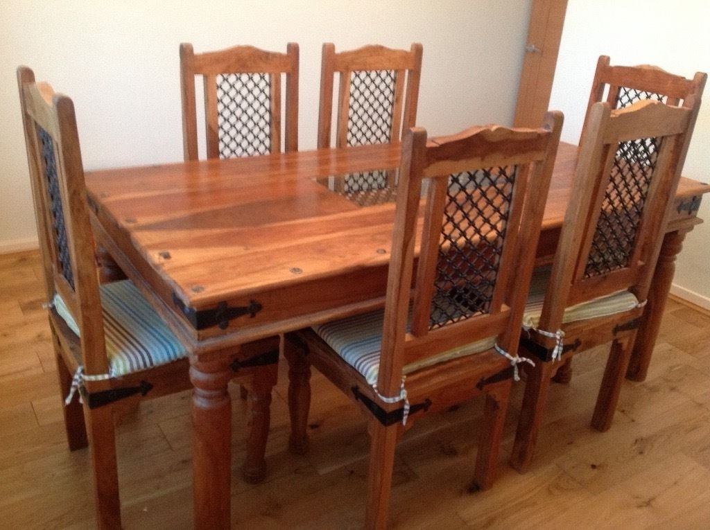Recent New Price Jail Sheesham Wood Dining Room Table & 6 Chairs Within Sheesham Wood Dining Chairs (View 11 of 20)