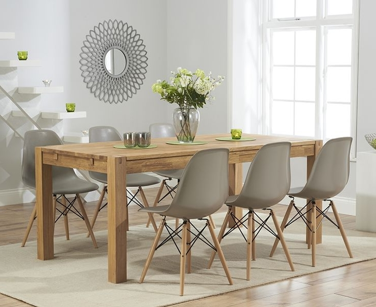 Recent Oak Furniture Dining Sets For Verona 150Cm Solid Oak Extending Dining Table With Charles Eames (Gallery 15 of 20)