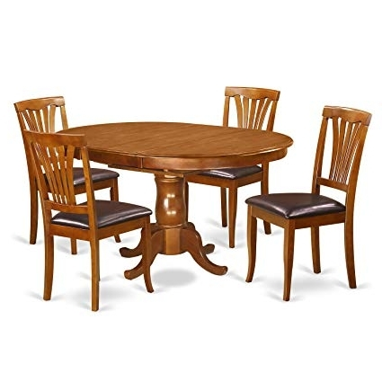 Recent Portland Dining Tables Within Amazon: East West Furniture Poav5 Sbr Lc 5 Piece Set Portland (View 19 of 20)