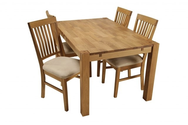 Recent Royal Oak Small Dining Table & 4 Dining Chairs (View 4 of 20)