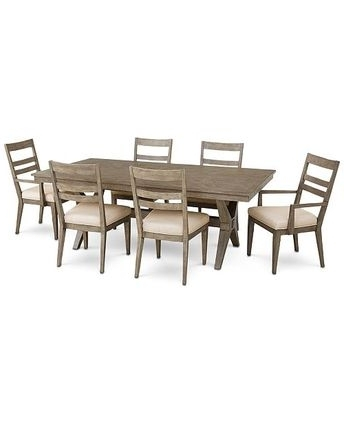 Recent Tribeca Round Dining Table And 4 Side Chairs – Gray Intended For Gavin 7 Piece Dining Sets With Clint Side Chairs (Gallery 9 of 20)