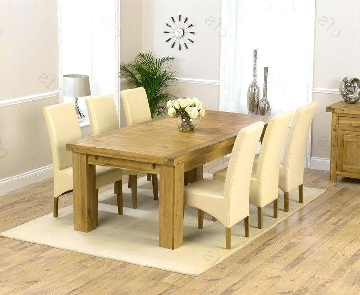 Recent Used Oak Dining Room Table And 6 Chairs Solid Wood With Leather In Chunky Solid Oak Dining Tables And 6 Chairs (View 16 of 20)