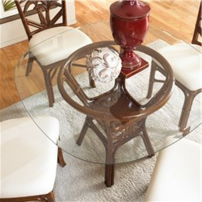 Recent Wicker And Glass Dining Tables Intended For Cancun Palm Indoor Rattan & Wicker Round Dining Table In Tc Antique (View 4 of 20)
