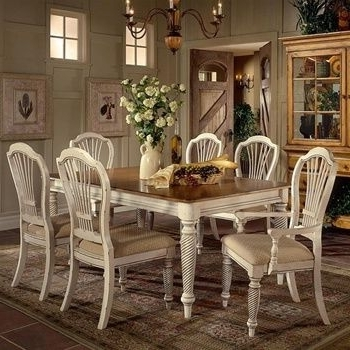 Recent Wilshire Collection Wood Dining Table W Antique White Finish & Le Regarding French Country Dining Tables (View 17 of 20)