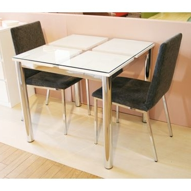 Recent Woodylife: Dining Table Made Of Glass Width 80 Cm White White In Dining Tables For Two (View 16 of 20)