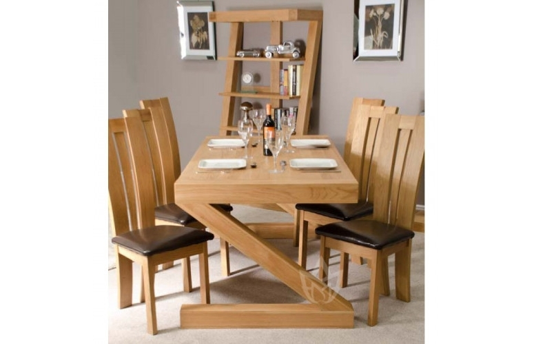 Recent Z Solid Oak Designer Large 6 Seater Dining Table With Chairs (Gallery 3 of 20)