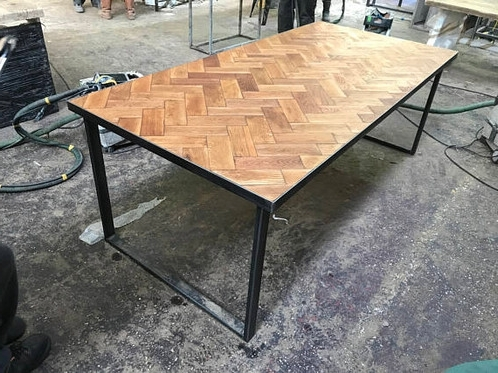Reclaimed Solid Oak Parquet Industrial Chic 6 8 Seat Wood Steel Inside Best And Newest Parquet Dining Tables (View 19 of 20)
