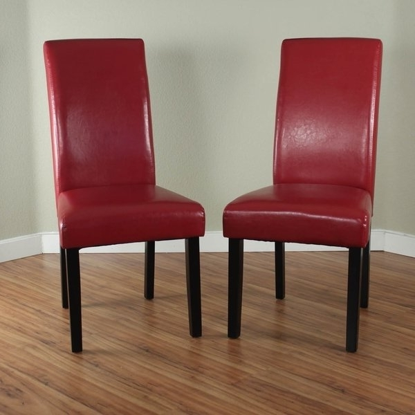 Red Dining Chairs With Regard To Popular Shop Villa Faux Leather Red Dining Chairs (Set Of 2) – Free Shipping (View 17 of 20)