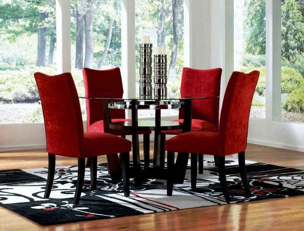 Red Dining Room Sets Cheap Round Glass Dining Table And Red Chairs Within Most Up To Date Red Dining Tables And Chairs (View 12 of 20)