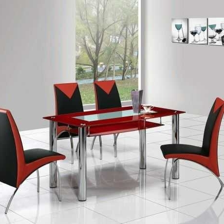 Red Dining Table Sets Pertaining To Most Recent Awesome Red Dining Table Design E With Glass Top And Also Four (View 13 of 20)