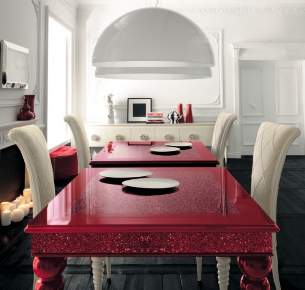 Red Dining Table With White High Backed Chairsaltamoda Throughout Most Recently Released Red Gloss Dining Tables (View 13 of 20)