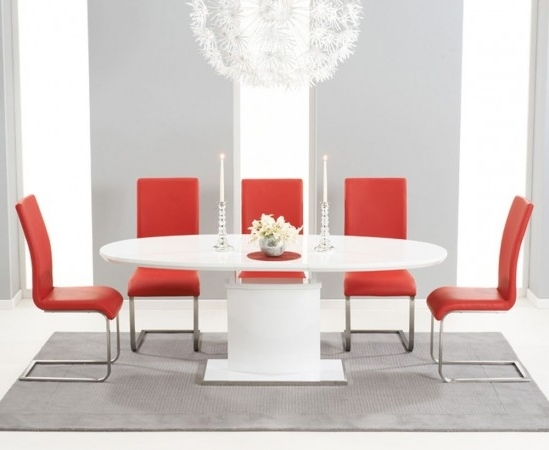 Red Gloss Dining Tables In 2018 Seville 160cm High Gloss Extending Dining Table With 6 Malibu Red (View 12 of 20)
