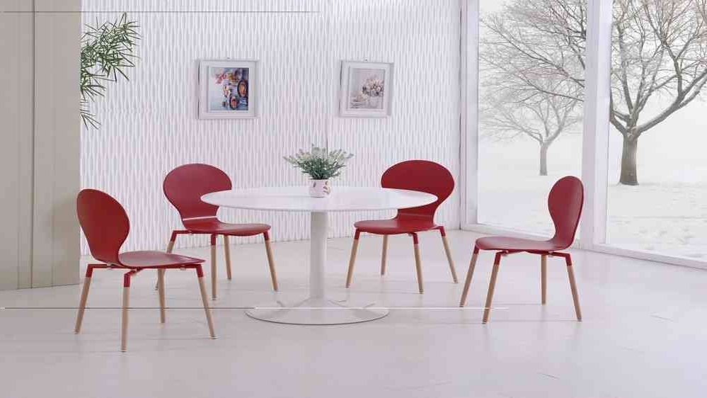 Red Gloss Dining Tables Inside Latest White Gloss Dining Table And 4 Red Pu Chairs – Homegenies (View 17 of 20)