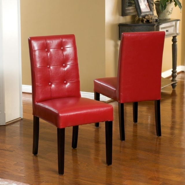 Red Leather Dining Chairs In Popular Set Of 2 Elegant Design Red Leather Dining Chairs W Tufted Button (View 18 of 20)