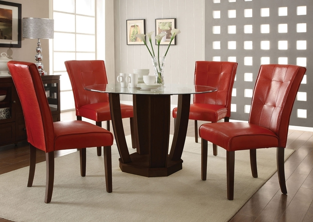 Red Leather Dining Table Chairs (Gallery 17 of 20)