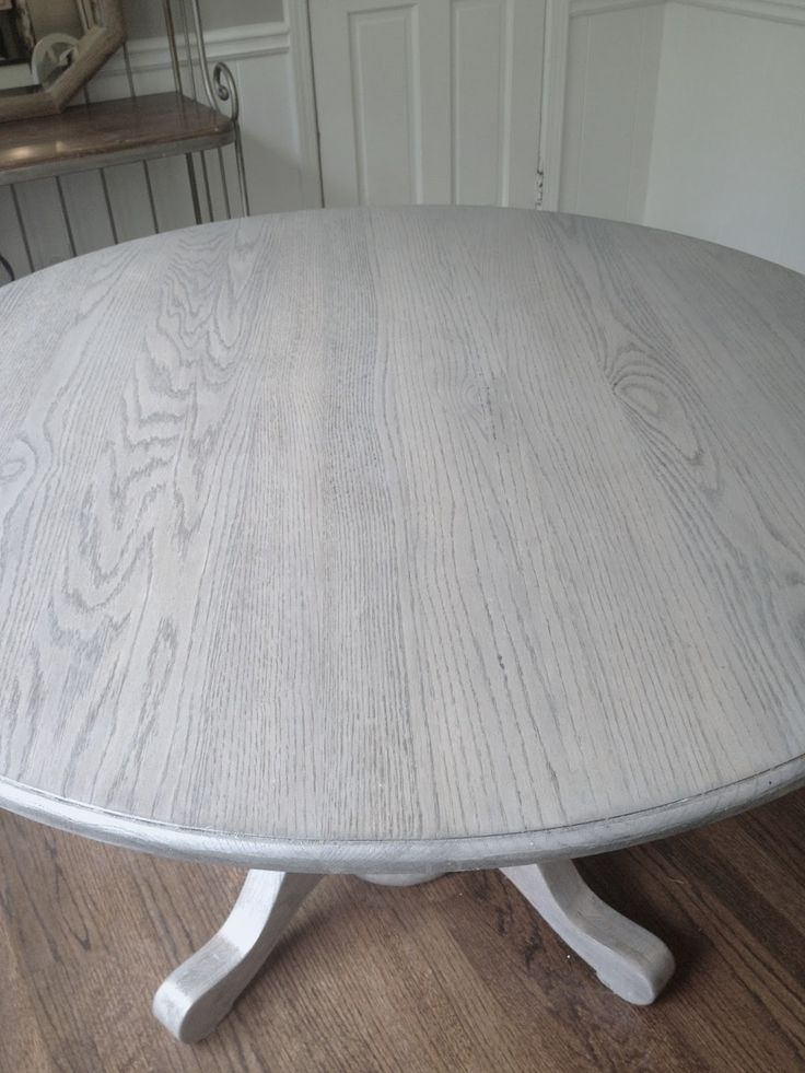 Refinishing Dining Table Gray!!long And Found: Diy Kitchen Table Throughout Well Known Washed Old Oak & Waxed Black Legs Bar Tables (View 15 of 20)
