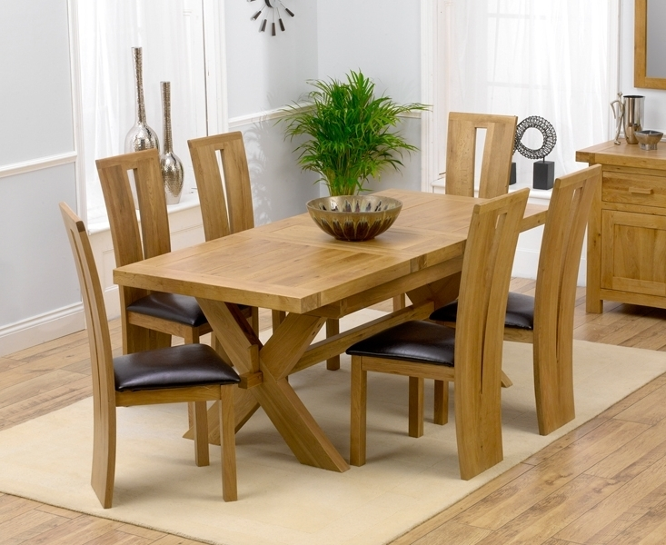Remarkable Extending Dining Table And 6 Chairs Solid Oak Leather With Regard To 2017 Light Oak Dining Tables And 6 Chairs (Gallery 2 of 20)
