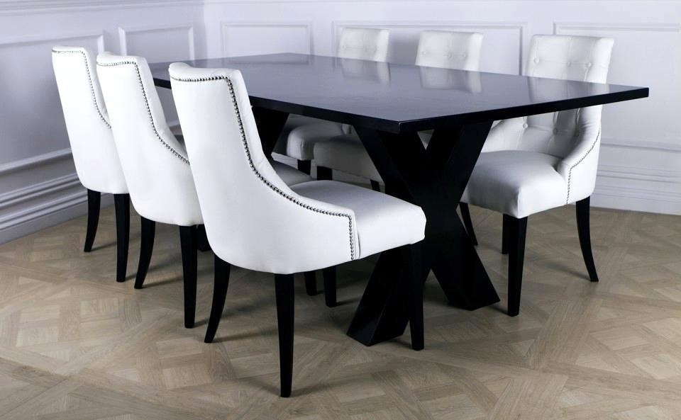 Remarkable White Leather Dining Room Chairs Modern Black Ing Room Intended For Recent White Leather Dining Room Chairs (View 8 of 20)